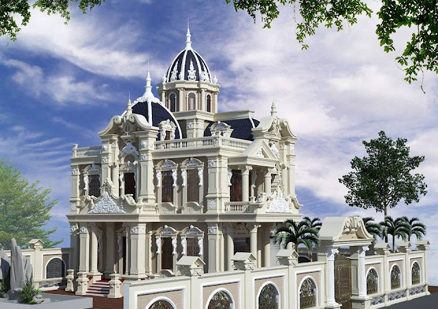 Phối cảnh chính của biệt thự mẫu kiểu lâu đài tráng lệ