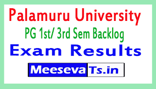 Palamuru University PG 1st/ 3rd Sem Backlog Exam Results