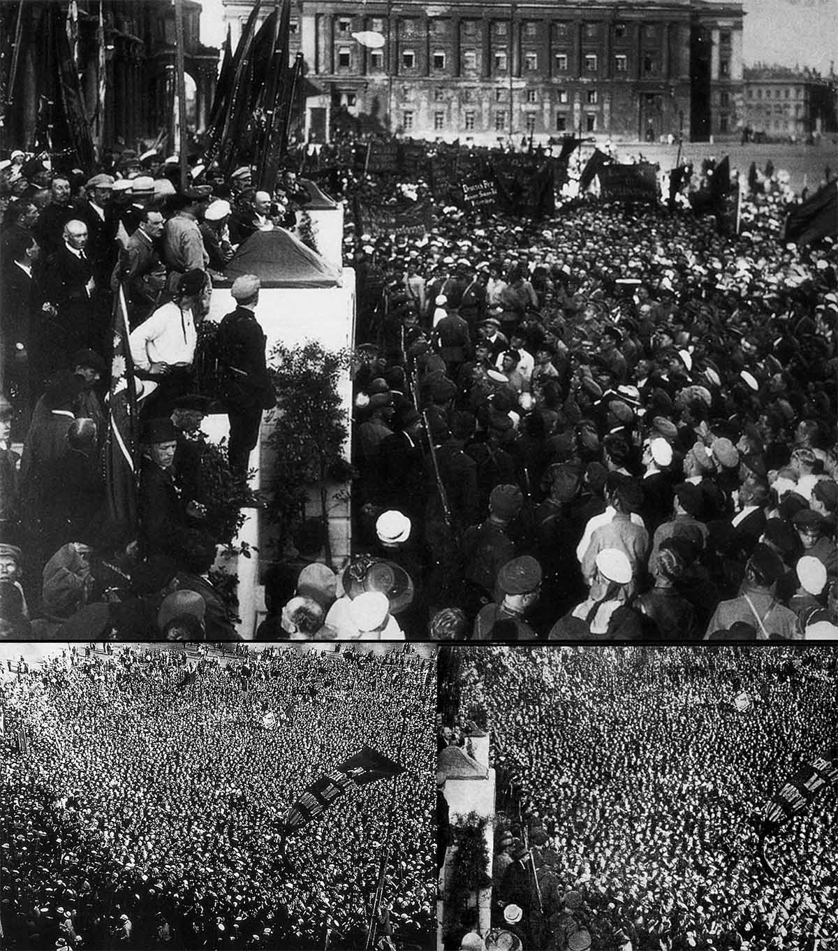 Here's another case of embellishing a picture with extra details. Lenin was speaking to a crowd in 1920 but four years later, before publishing the image, the editors decided to make his audience bigger – so they used a larger crowd from another photo.