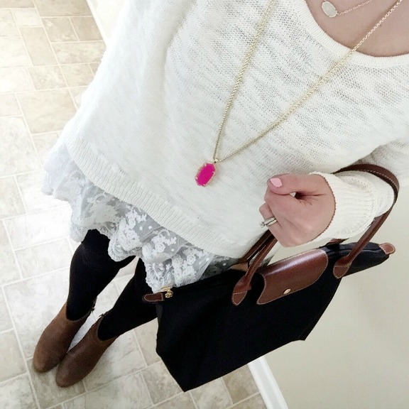target sweater, lace sweater, longchamp, kendra scott