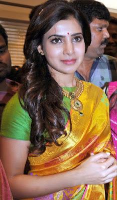 Samantha Cute In Yellow Saree