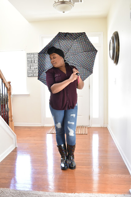 Keeping Dry in My New Rain Boots  via  www.productreviewmom.com