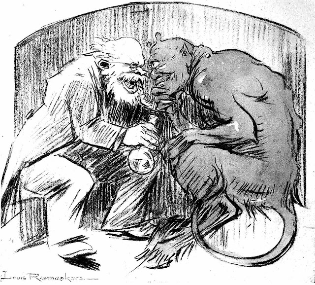 a Louis Raemaekers editorial cartoon, smiling and planning with the devil
