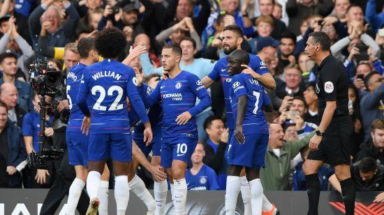 Eden Hazard Celebrates opener against Liverpool