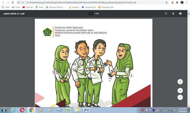 Buku akidah akhlak kelas 1 mi sesuai kma 183 tahun 2019 kurikulum PAI