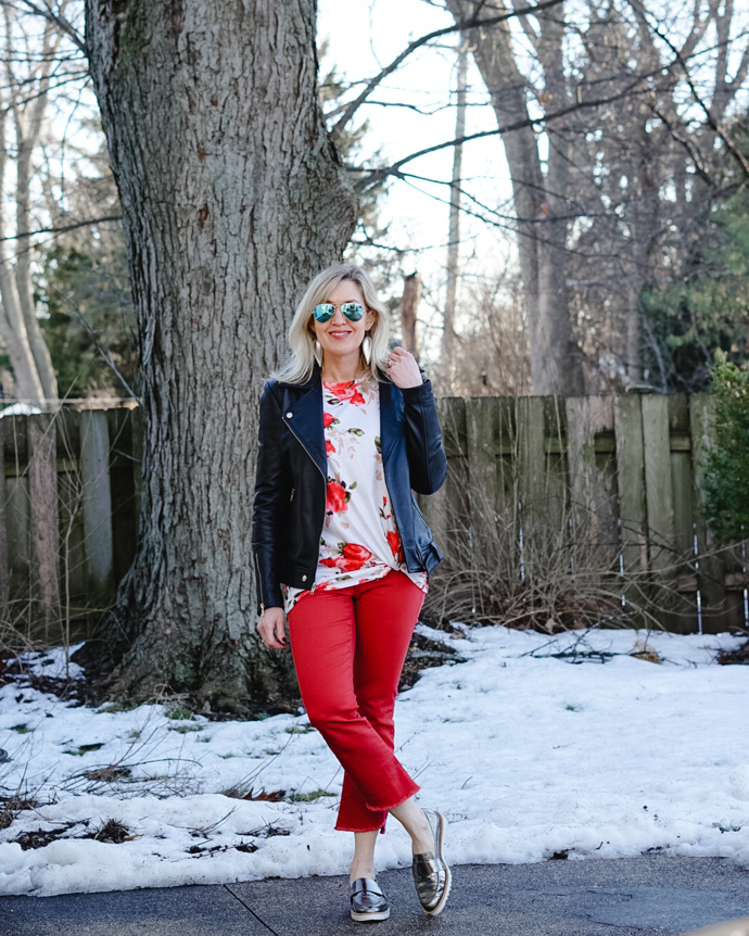 red pants outfit womens casual