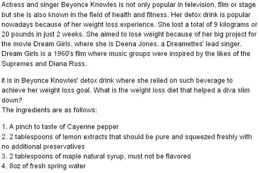Beyonce Knowles' Detox Drink - The Weight Loss Diet That Helped a Diva Slim Down