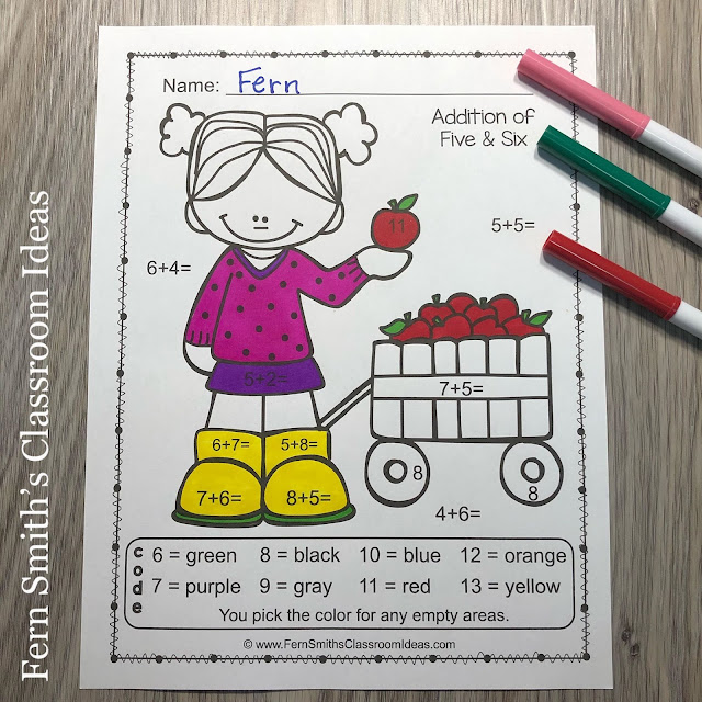 Click Here to Download These Fall Color By Number Addition, Subtraction, Multiplication, and Division Apple Themed Printables For Your Students Today!