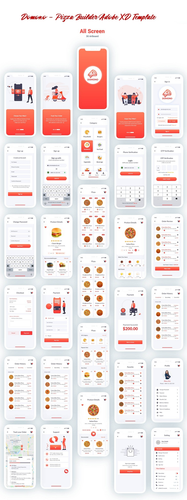 Pizza Builder Adobe XD Template