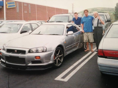 Paul Walker taking his grandfather for a ride in his R34 Nissan Skyline GT-R