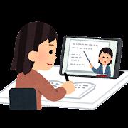 オンライン授業を受ける学生のイラスト(女性)