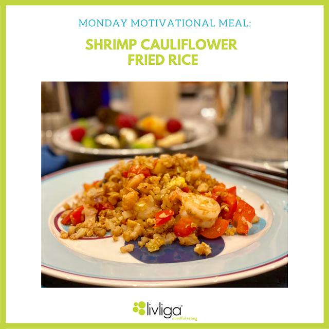 Shrimp Cauliflower Fried Rice Served Up on Livliga's Healthy Lifestyle Dinnerware