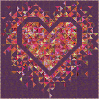 Exploding Heart quilt in the Kaffe Fassett Equator collection