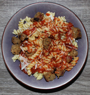 Fusilli Pasta with Field Roast Sausage & Daiya Cheese
