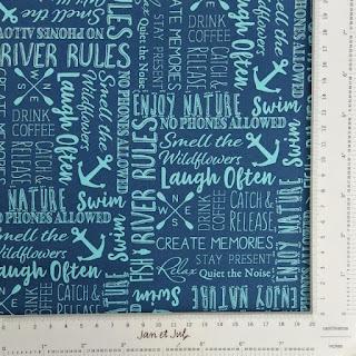 Tela de algodón americano con frases y dibujos marineros
