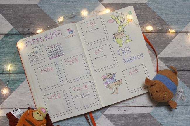 Winnie the Pooh themed bullet journal spreads - www.nourishmeblog.co.u