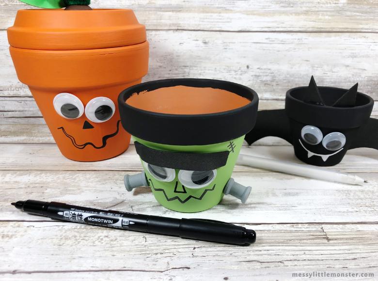 Halloween pumpkin, Frankenstein, bat clay pot crafts