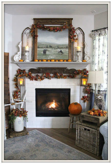 Fall -Cottage-Farmhouse-French-Country-Fireplace- Mantel-From My Front Porch To Yours To Yours