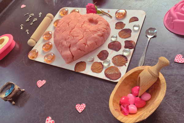 Valentine's Day sensory rose playdough tuff tray activity