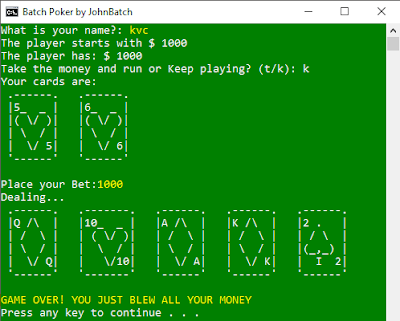 [Batch Game] BatchPoker by JohnBatch | Batch is a Fun Language ♥