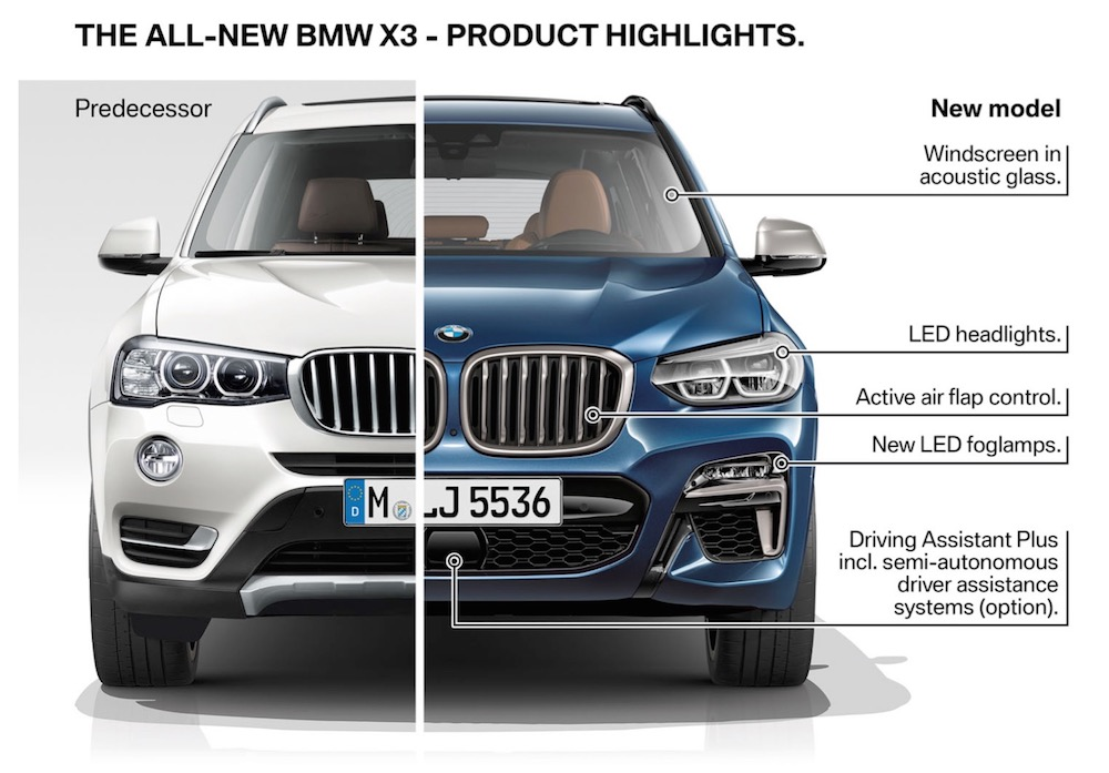 differenze nuova bmw x2 2017/2018 VS 2013/2014 - frontale