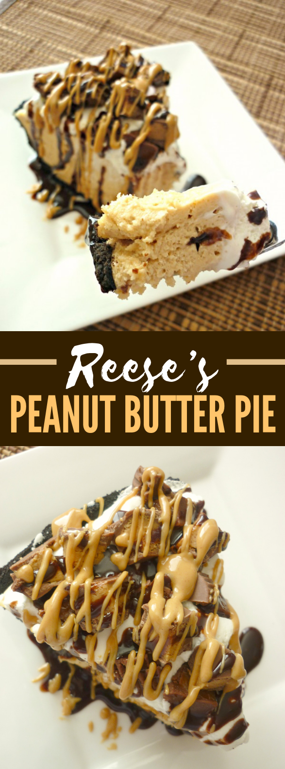 Reese's Peanut Butter Pie #desserts #chocolate