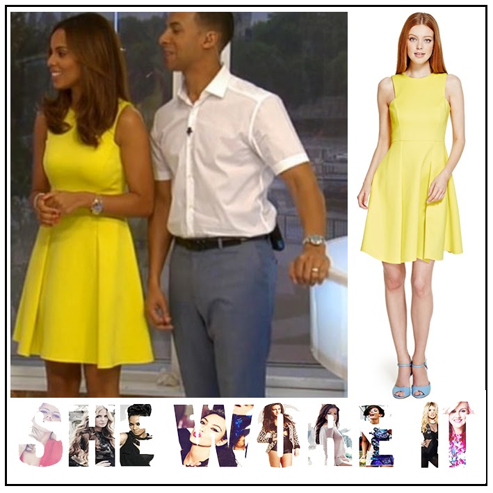 Bright, Dress, Marks And Spencer, Panels, Pleated, Rochelle Humes, Skater Dress, Sleeveless, The Saturdays, This Morning, Yellow, Sunshine Yellow