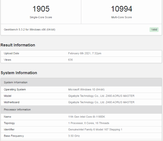 Intel Core i9-11900k Benchmarks