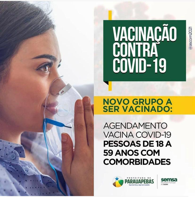 Covid-19: Prefeitura inicia agendamento para vacinação de pessoas com comorbidades na faixa etária de 18 a 59 anos