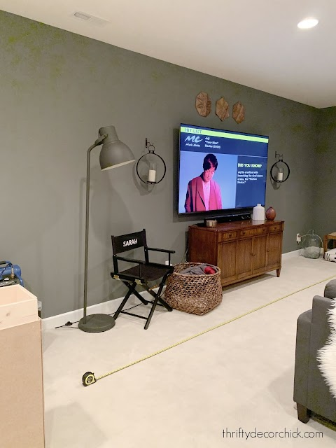 long TV wall before built ins