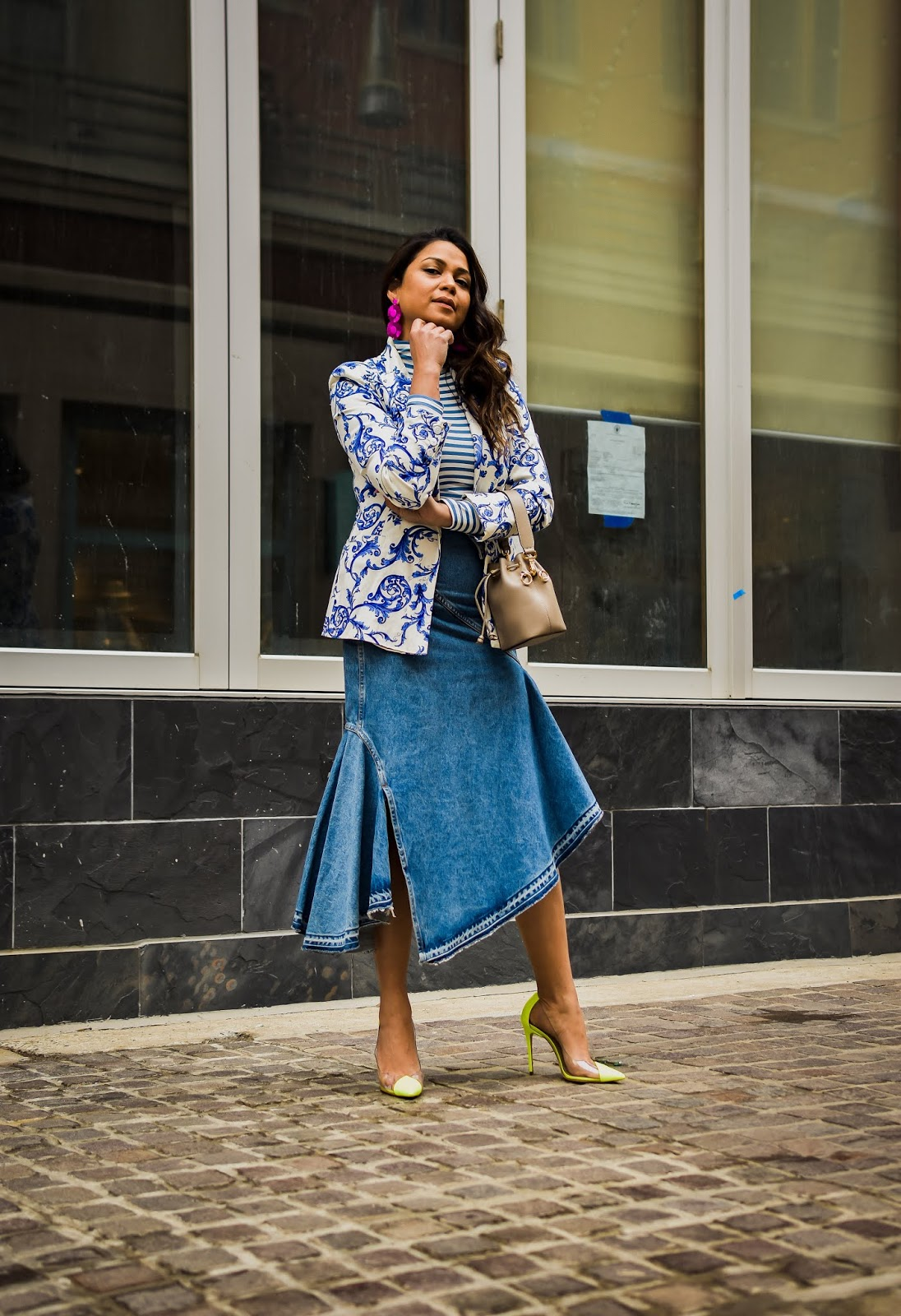 print on print, monochromatic outfit, fshion, style, denim ruffle skirt, origami skirt, street style, myriad musings, saumya shiohare, bodysuit