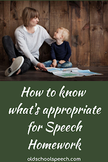 picture of a woman puckering her lips, sitting with a little boy. Caption below: How to know what's appropriate for Speech Homework.