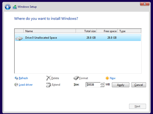windows new partition - clean install windows 10