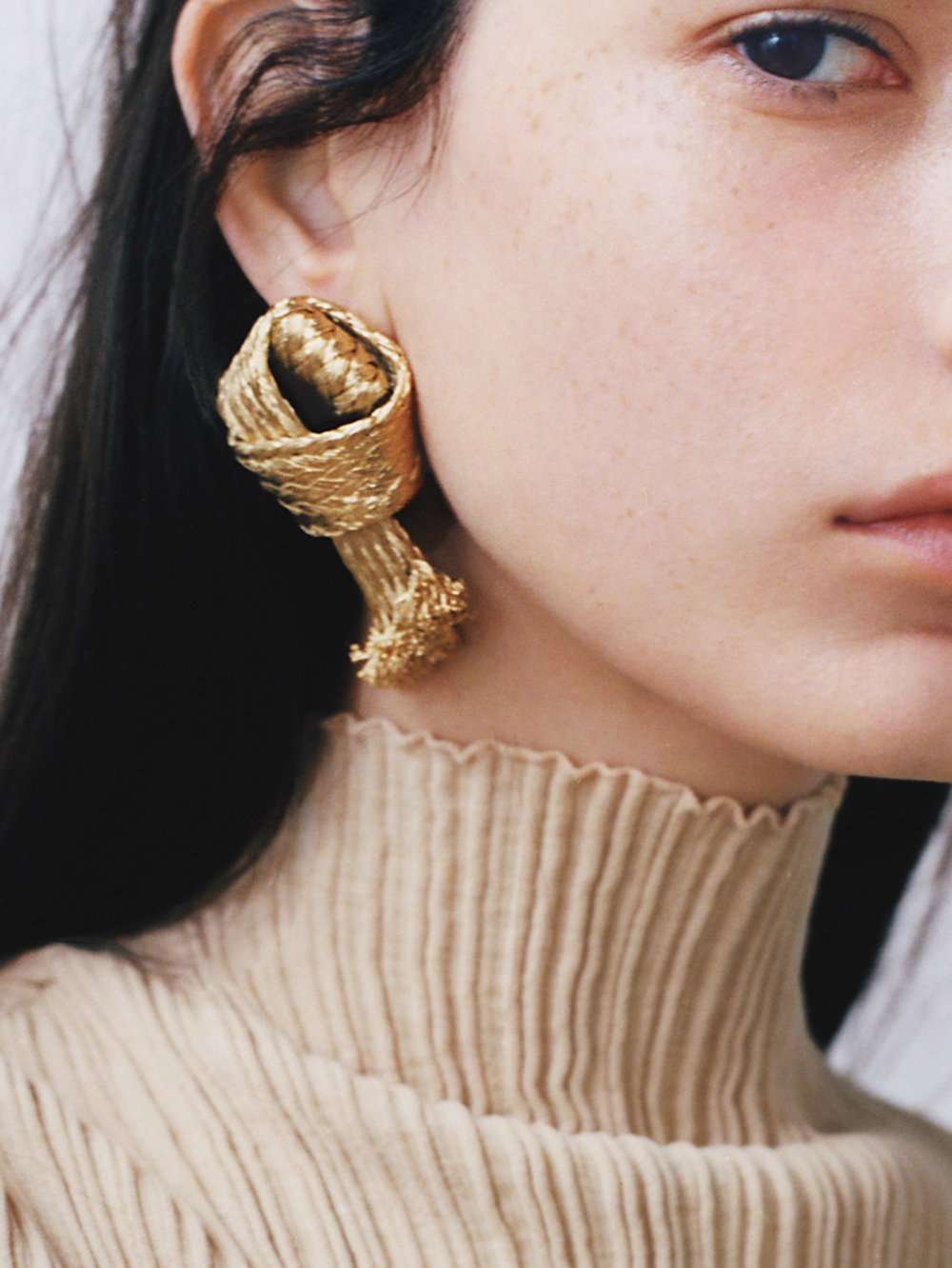 Weekend Favorites : Louis Vuitton earrings; Jil Sander turtleneck.