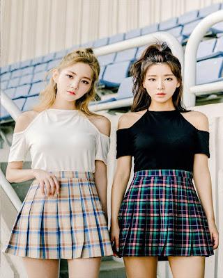 outfit coreano con falda a cuadros