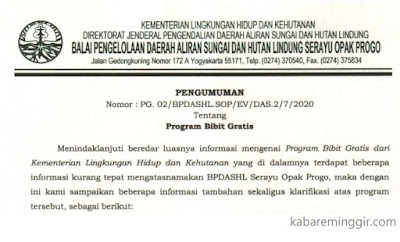 Klarifikasi Bibit Gratis dari BPDASHL Serayu Opak Progo
