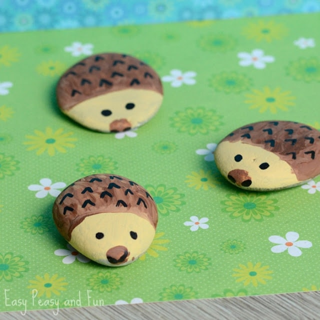 how to paint a hedgehog rock - easy rock painting design for kids