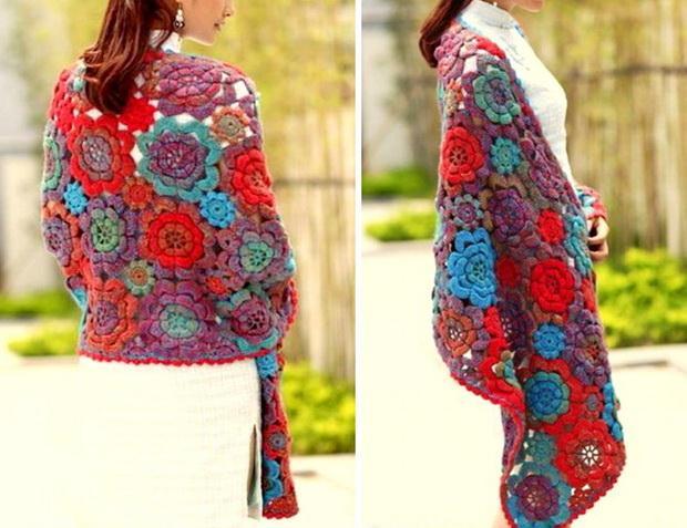 Rectangular Crochet Wrap Shawl - Floral