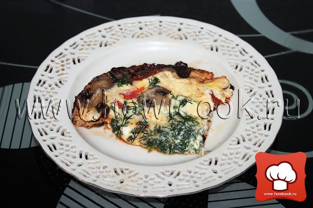 рецепт Омлет с грибами и помидорами