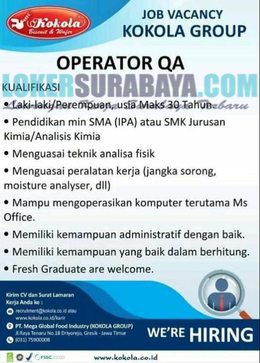 Lowongan Kerja Gresik Terbaru Di Pt Mega Global Food Industry Kokola Group Juni 2019 Lowongan Kerja Surabaya April 2021 Lowongan Kerja Jawa Timur Terbaru