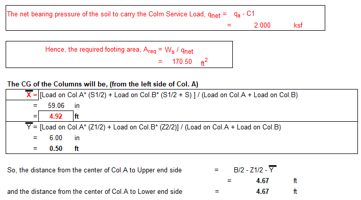 Combined Footing Size Calculation