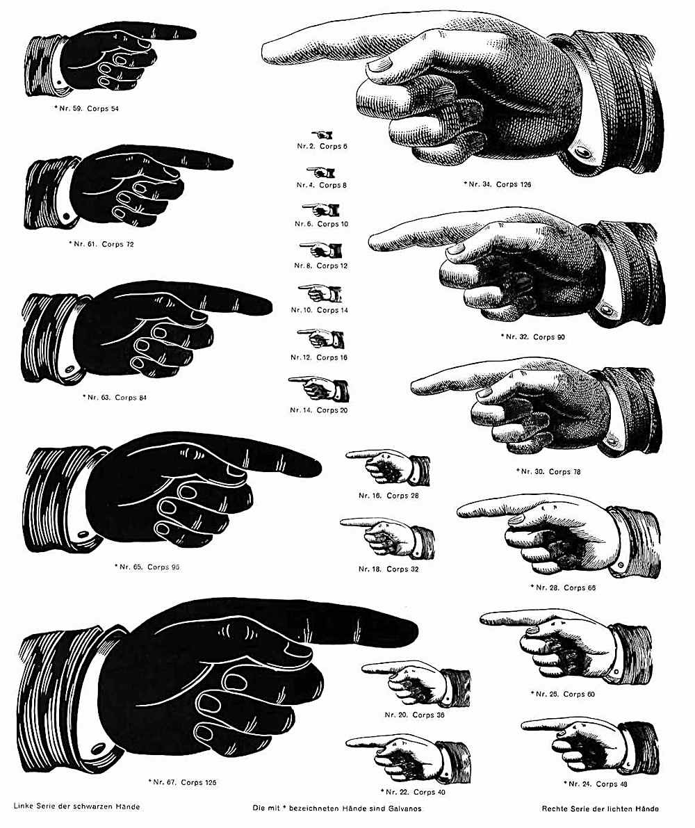 pointing hand symbol, different sizes