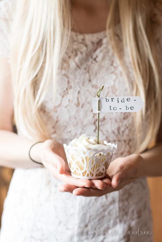 Rustic and romantic spring bridal shower | Stamped bride-to-be cupcake toppers | personallyandrea.com
