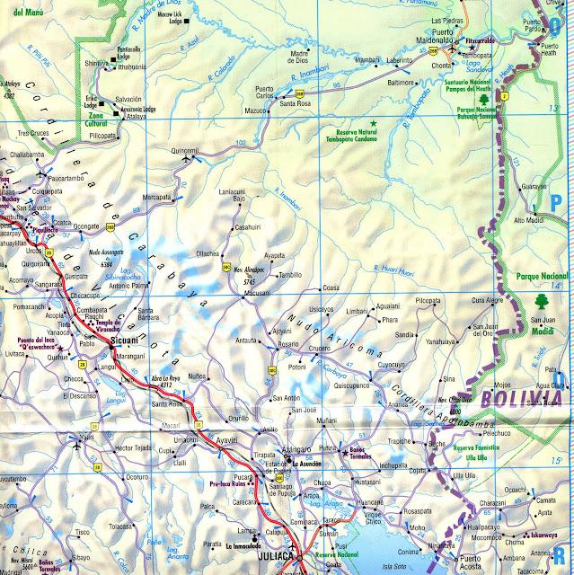 Mapa rodoviário da região de Juliaca - Peru