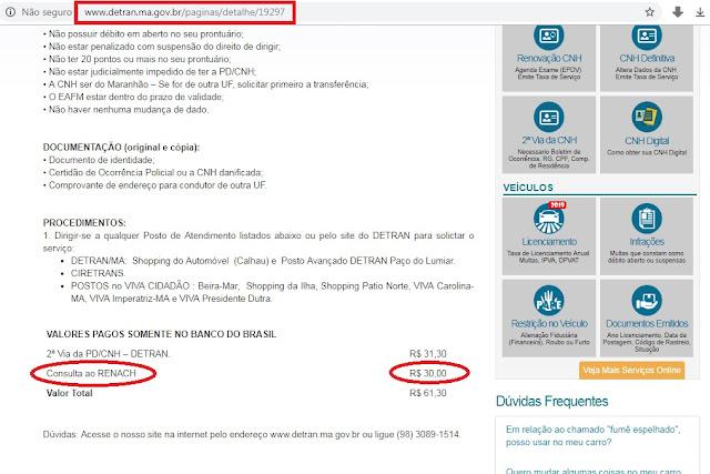 Absurdo!!! Detran do Maranhão cobra R$ 30 em consulta de 2ª via da CNH