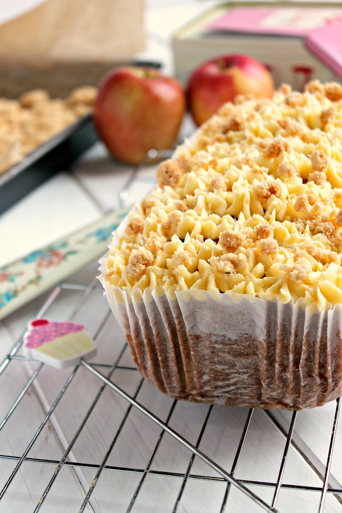 Apple Crumble and Custard Loaf Cake
