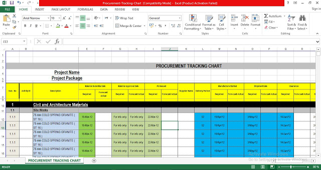 Procurement tracking excel template free download