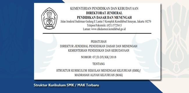 Peraturan Dirjen Dikdasmen Kemdikbud Nomor: 07/D.D5/KK/2018 Tentang Struktur Kurikulum Sekolah Menengah Kejuruan (SMK) / Madrasah Aliyah Kejuruan (MAK)