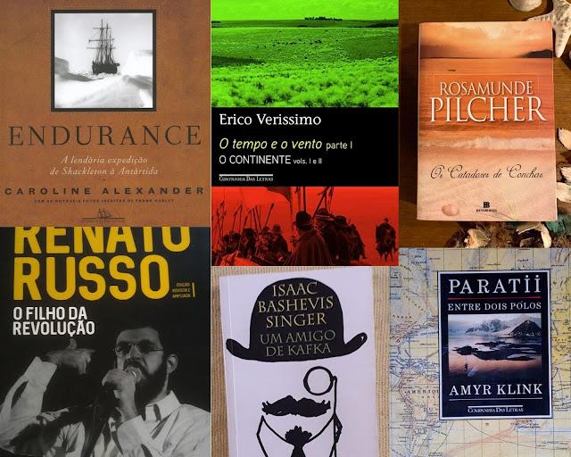 Composição com diversas capas de livros