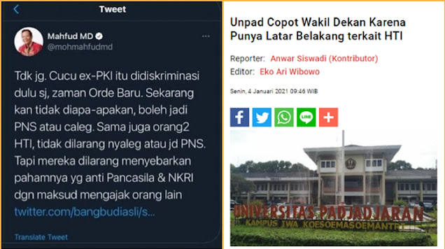 Wakil Dekan Dicopot gegara Eks HT1, Tengku Unggah Cuitan Lama Mahfud: Eks HT1 boleh jadi PNS
